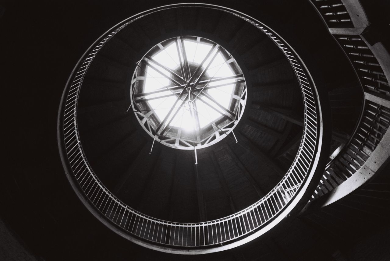 circle, architecture, indoors, built structure, staircase, no people, steps and staircases, low angle view, day, close-up