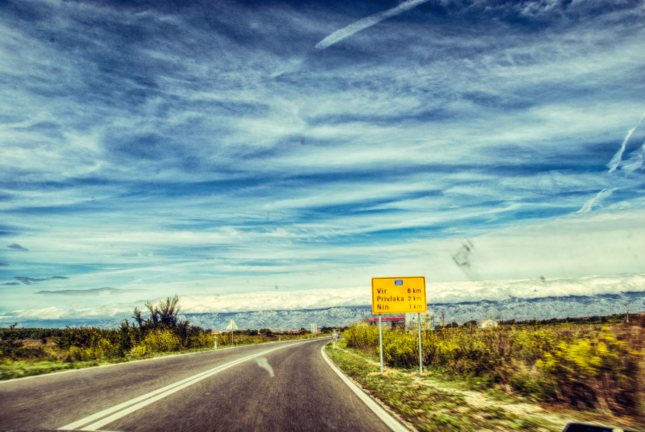 On the road Beauty In Nature Blue Cloud Cloud - Sky Cloudy Croatia Day Diminishing Perspective Empty Empty Road Landscape Nature No People Non-urban Scene Outdoors Road Road Marking Scenics Sky The Way Forward Tranquil Scene Tranquility Transportation Traveling Vanishing Point