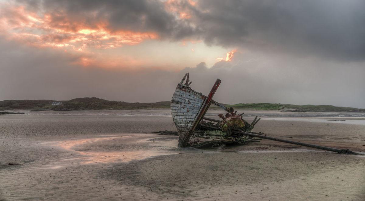 Abadoned Beach Boat Calm Nautical Vessel Retouch Shipwreck Sky Wreckage