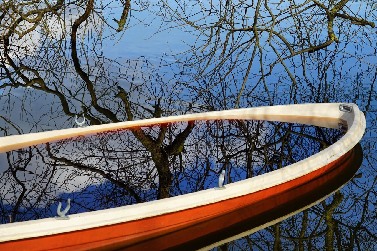 Abstract Photography Tree Branches Reflection Boat Sinkingboat Sky Reflected In Water Poetic Frame Natural Frame Nature Photography SONY A7ii Sonyalpha Outdoors Springtime Water Reflections Waterscape Water Surface Water