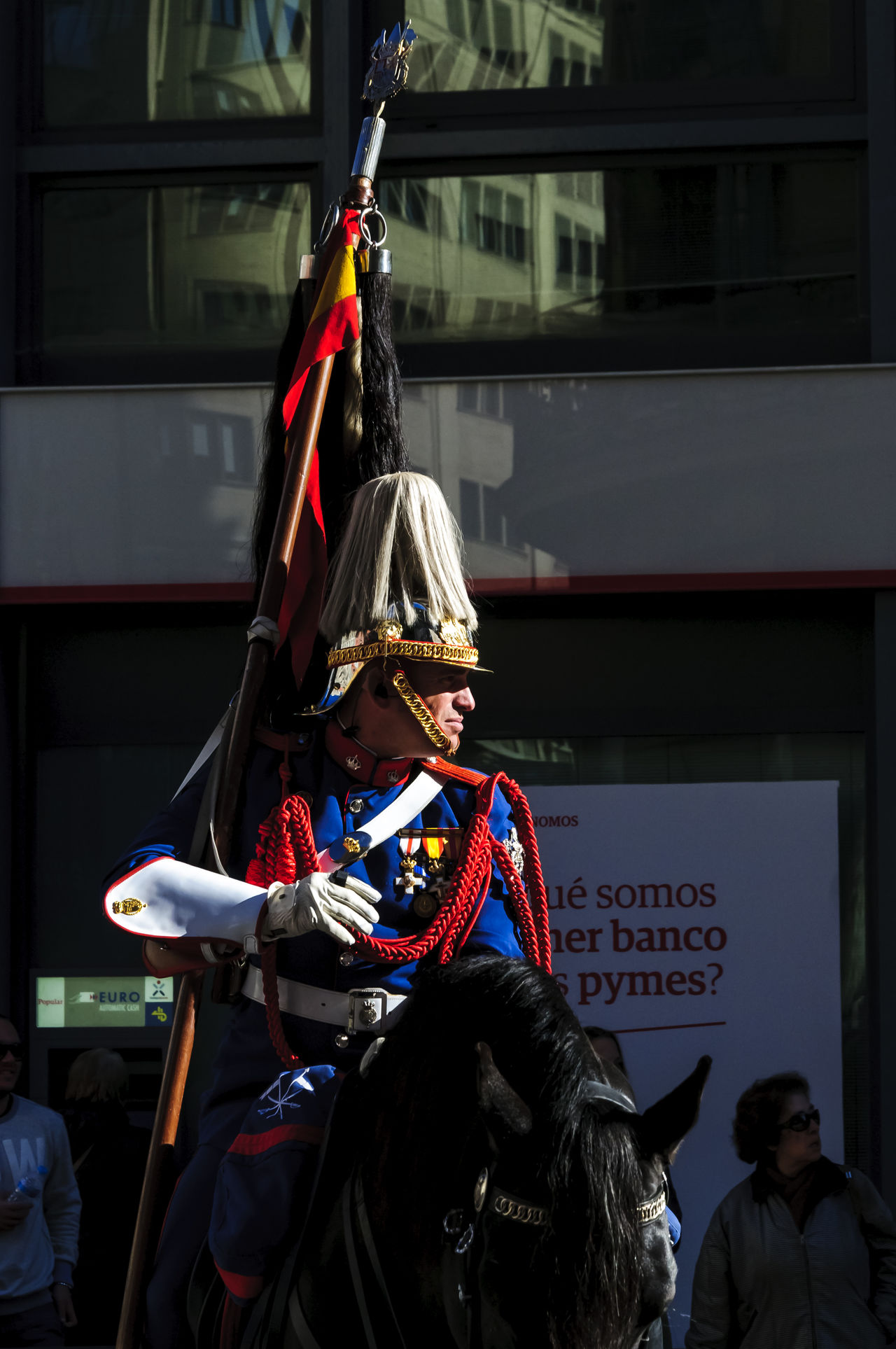A half view of a Cavalery soldier mounted on a black horse. Animal Themes Cavalry Cavalry Soldier Day Editorial  Guard Horse Horse Riding Horses Light Mammal Military Mounted News People Shilouette Street Travel Uniform Uniforms