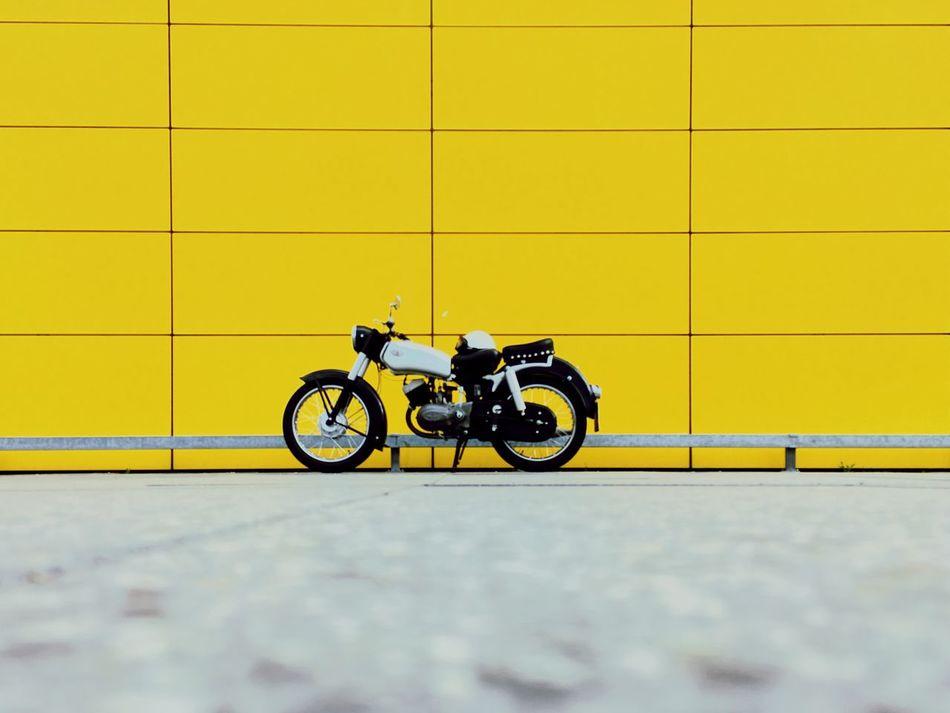 Yellow No People Motorcycle Streetsofberlin Urban Geometry
