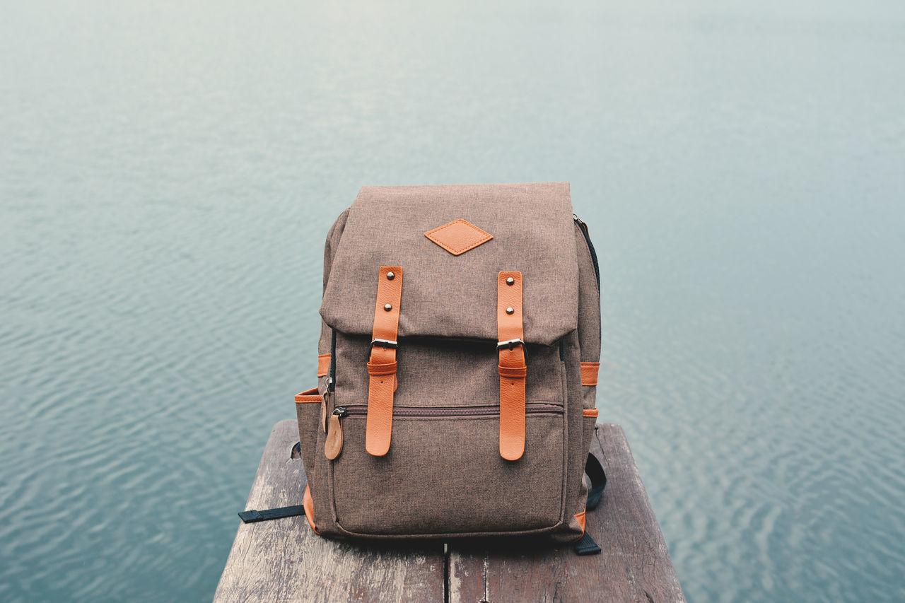 Bag Close-up Day Let's Go. Together. Nature Transportation Travel Water Wood