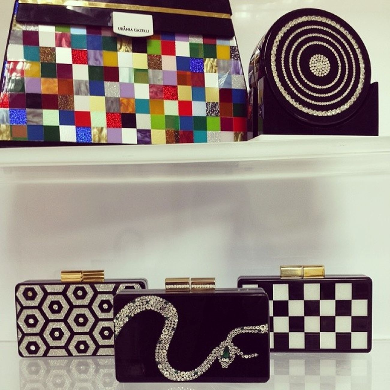 Winter essentials... FW2013 together with a limited edition Kelly Bag Pixel! Flawless every single piece! Handmade with love and care! For my girls around the world!!! Buy the chessboard online at www.moreislove.com ??❤? Uraniagazelli Ladiesclutchyourself FW13 Instoresworldwide snake chessboard hexagon gazellakiaruntheworld