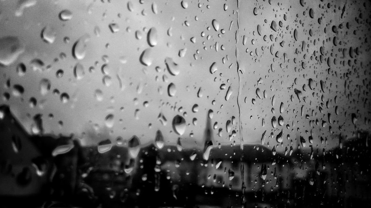 drop, rain, wet, window, raindrop, rainy season, glass - material, weather, water, focus on foreground, indoors, no people, close-up, backgrounds, day, sky