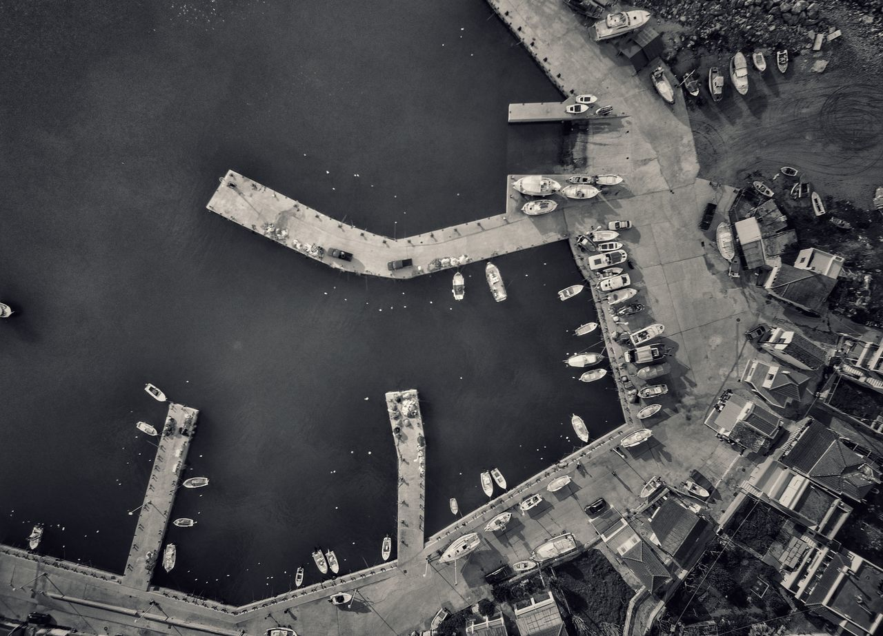 Aerial Shot Dronephotography Aerial View Drone  Fishing Port Fishing Village Nautical Vessel Fishing Boat Outdoors Malephotographerofthemonth Local Architecture Port Harbor Harbour View Fishing Boats View From Above Blackandwhite Blackandwhite Photography - Greek Islands