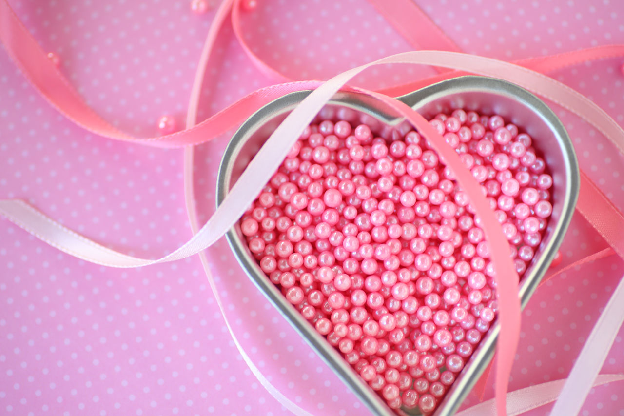 Affection Celebration Close-up Colorful Day Decorative Feminine  Girly Heart Shaped Pan Holiday Indoors  Love No People Overhead Pattern Pink Beads Pink Ribbons Polka Dot Sentimental Text Space Valentine's Day