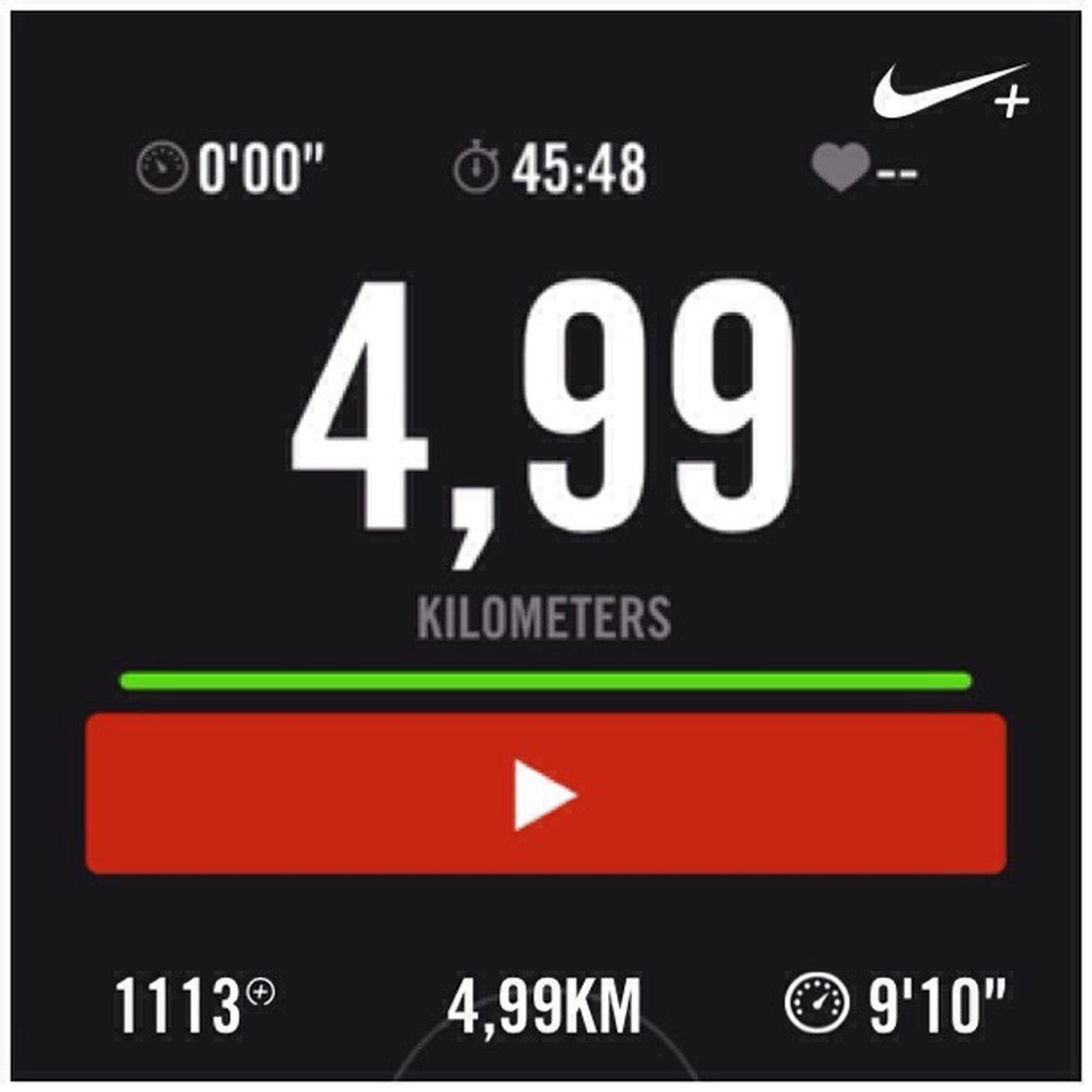 In this morning, I run 4,99 km with Nikerunning