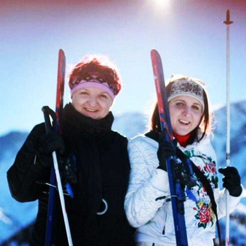 Я с мамуличкой Kashkasuu лыжи кашкасуу
