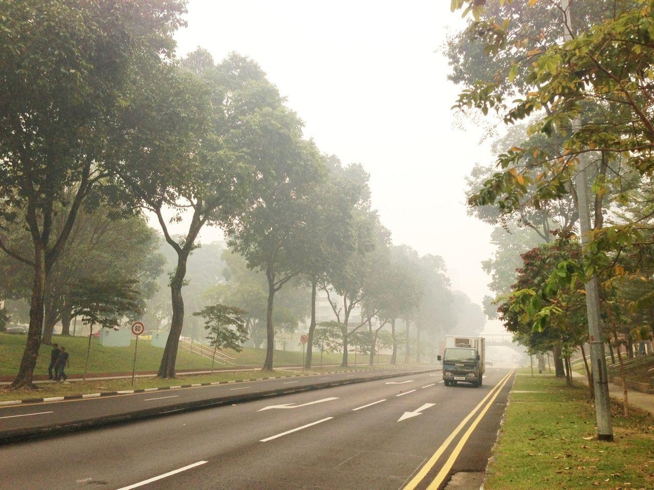 Hazy Singapore Street Life Streetphotography Haze Air Polution Street Lorry Road Visibility