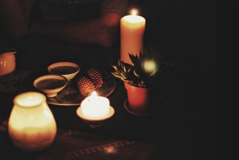 Flame Burning Candle Fire - Natural Phenomenon Lighting Equipment Heat - Temperature Glowing Lit Illuminated Tea Light No People Indoors  Close-up Wax Scented Diya - Oil Lamp Самара Samara чайнаяцеремония Tea - Hot Drink Teapot Tea Cup Чай EyeEmNewHere Welcome To Black