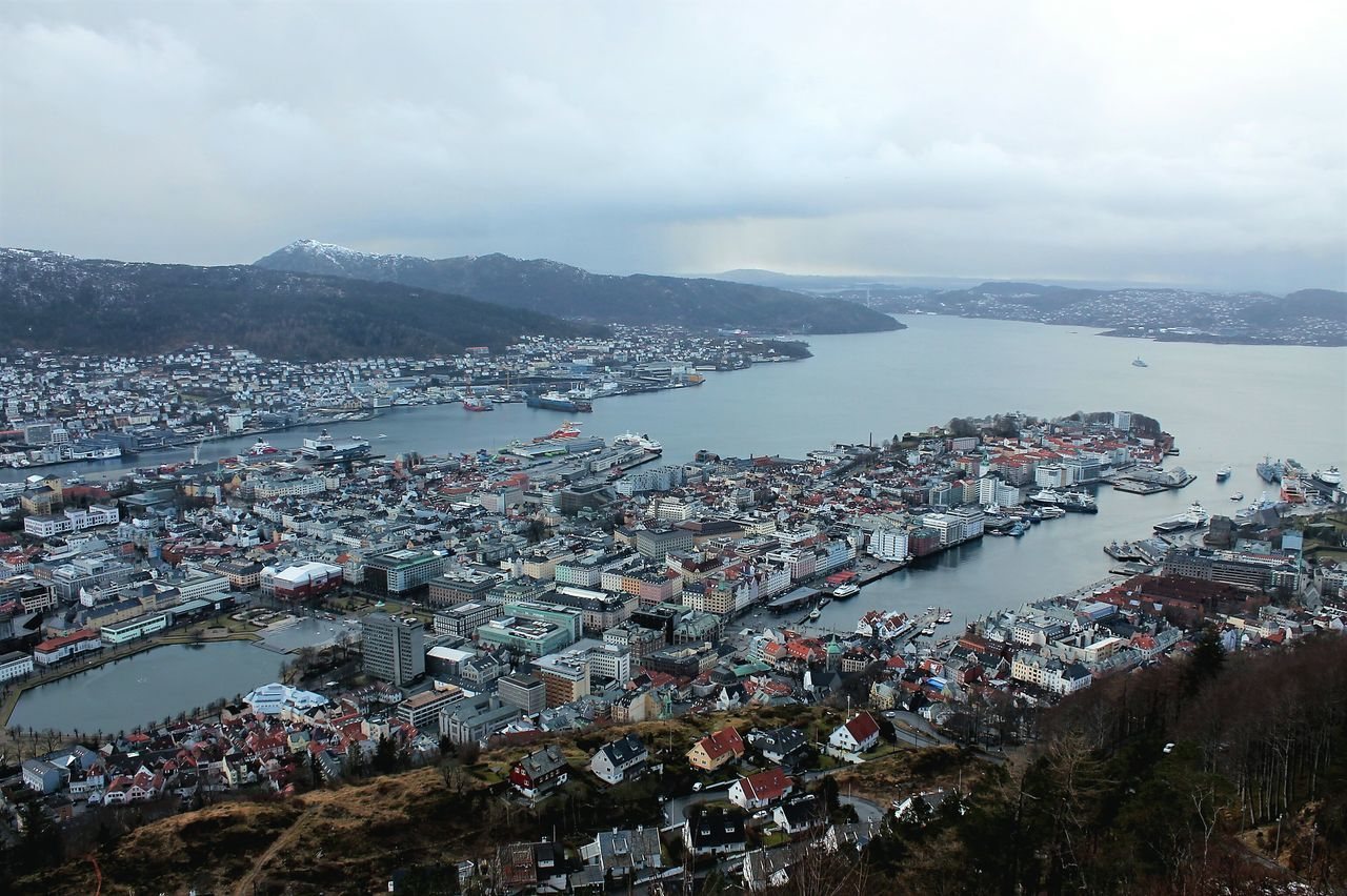 Bergen City Views Panoramic View City View  Cityscape Norway Visitnorway Vacations Eyem Gallery Travel Destinations NorwayTourism dramatic sky Outdoors Cloud - Sky Sky Scenics Cityscape Airshow Mountain Flying High