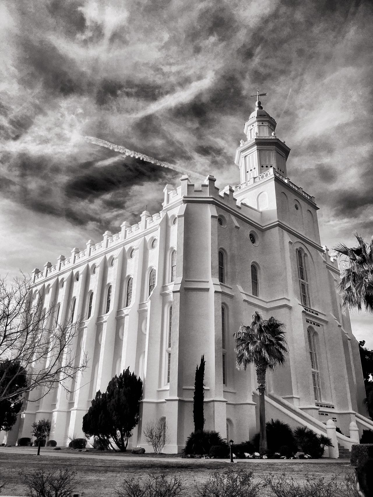 Architecture Built Structure Building Exterior Sky Cloud - Sky Religion Outdoors Tree Low Angle View No People Day Place Of Worship EyeEm Best Shots - Black + White Blackandwhite Black And White EyeEm Taking Photos EyeEmBestPics Eyeemphotography Eye4photography  Beautiful Temple Lds LDS Temple Low Angle View