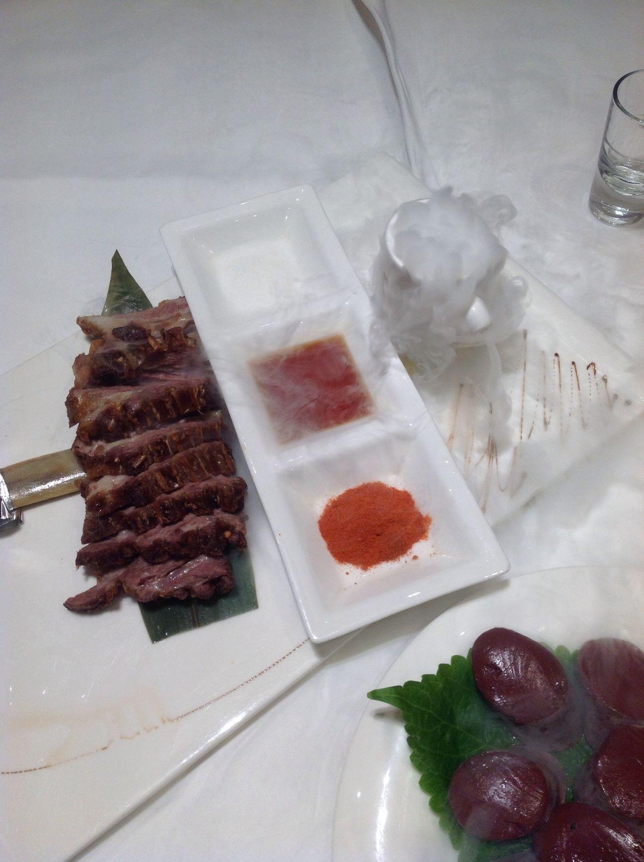 Bitherday dinner - 'smoking' grillec lamb chop My Birthday Dinner Time Grilled Lamb Chop