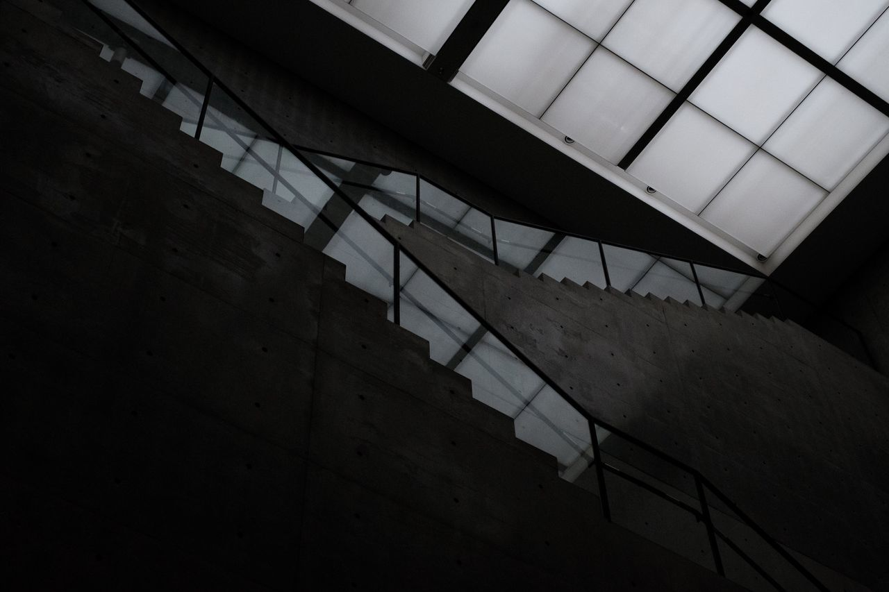 architecture, ceiling, built structure, low angle view, indoors, staircase, steps and staircases, no people, architectural design, day, close-up