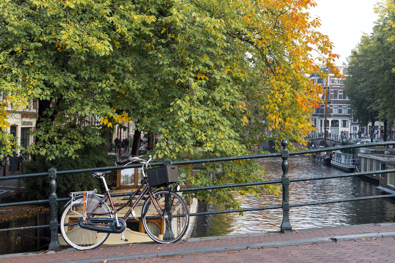 A bicycle on one of the bridges in Amsterdam. It is the beginning of autumn and the leaves just start to get the beautiful red/yellow color. Amsterdam Autumn Autumn Colors Cycle Keizersgracht Prinsengracht Architecture Bicycle Bicycles Bridge Built Structure Canal Day Herengracht Mode Of Transport No People Outdoors Transportation Tree