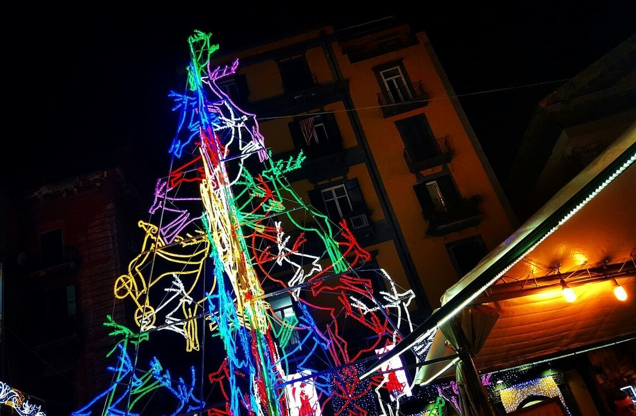 Christmas in town 🎄 Night Illuminated Multi Colored City Rollercoaster Naples, Italy Outdoors Christmas Tradition Christmas Tree Christmas Lights Christmas Decoration Xmas2016 Natale  Natale 2016