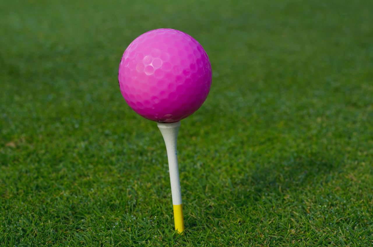 Pink golf ball on a tee Ball Close-up Day Golf Golf Ball Golf Course Golf Tee Grass Green - Golf Course Green Color No People Outdoors Pink Color Sport Sport Equipment Tee