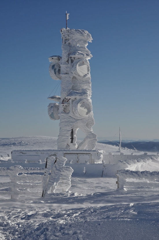 Ice-covered screen meteorological station, high on a mountain-top Blizzard Blue Sky Cold Temperature Day Forecast Ice Meteo Meteorological Station Meteorology Nature No People Outdoors Peak Research Scientific Snow Snow Covered Snow ❄ Snowstorm Station Summit Sunny Wind Winter Winter