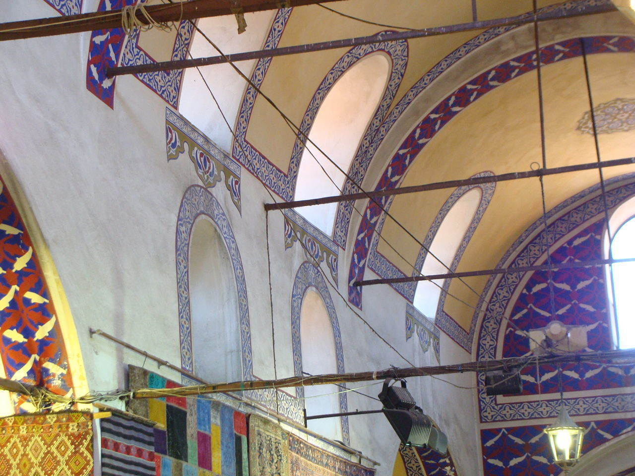 The ceiling of the Grand Bazaar, Istanbul Architecture Art Built Structure Celing Art City Commerce Covered Market Roof Detail Blue Black Light Window Istanbul No People Market Day Grand Bazaar Istanbul Looking Up Low Angle View No People Ottoman Architecture Painting Traditional Travel Destinations Travel Photography