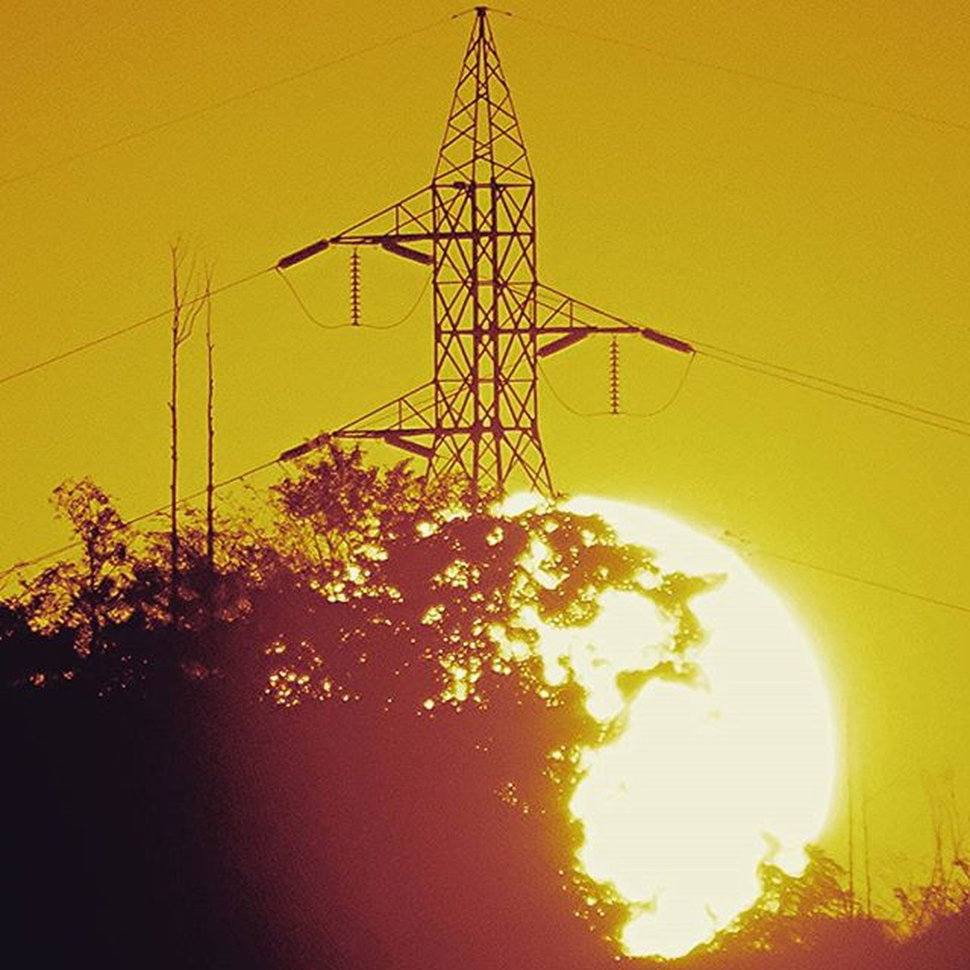 electricity, low angle view, sunset, power line, silhouette, power supply, tree, orange color, fuel and power generation, electricity pylon, cable, sky, technology, sun, yellow, lighting equipment, nature, branch, clear sky, connection