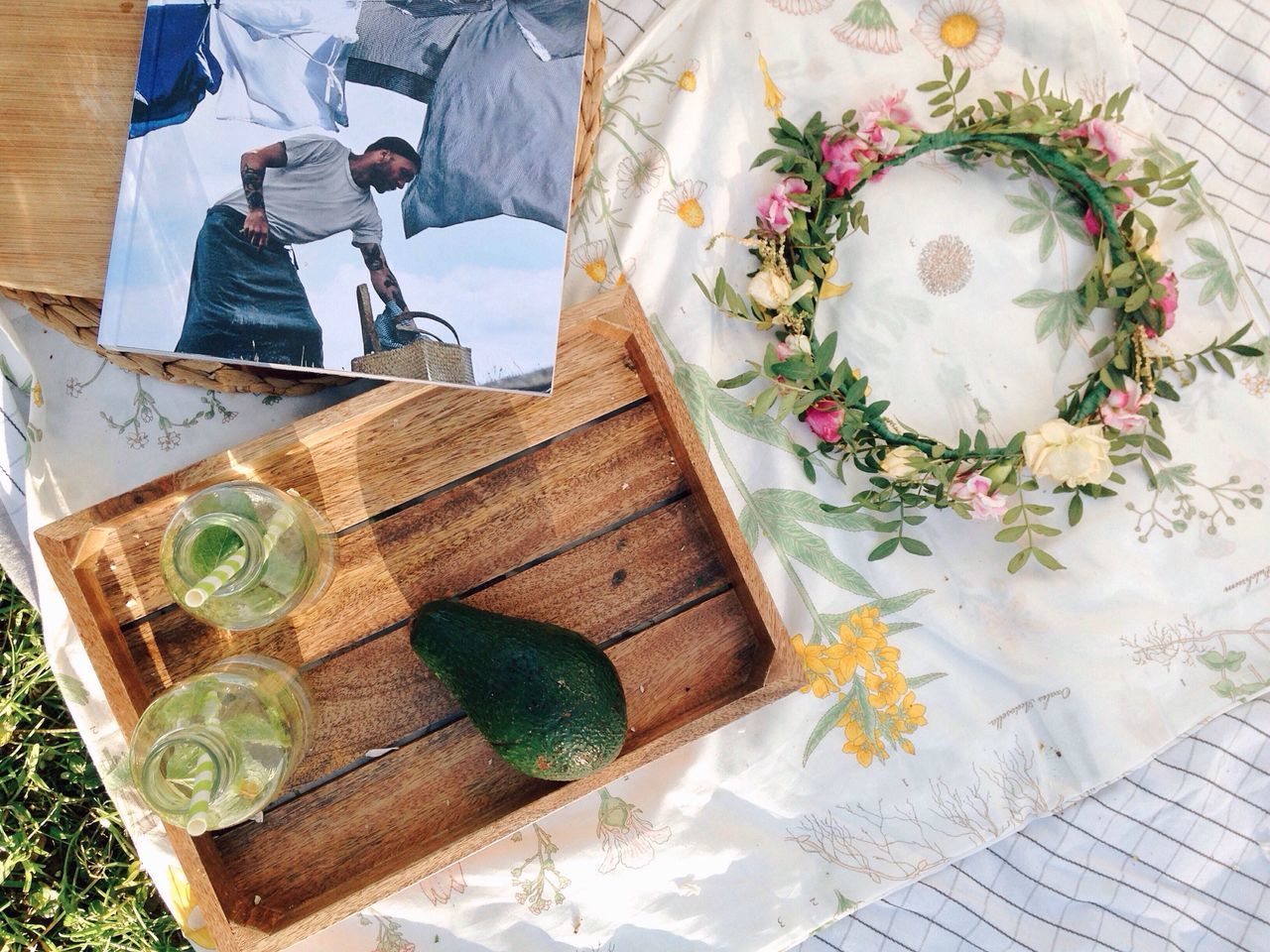 Summer drinks on the grass High Angle View Flower Day Magazine Drinks Drinking Glass Avocado Fruits Copy Space Top View