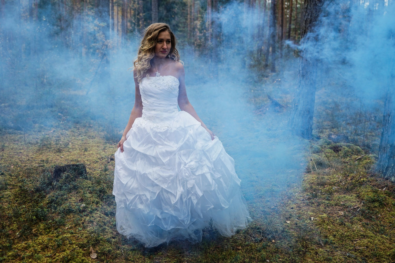 wedding, one woman only, wedding dress, white color, adult, bride, only women, adults only, one person, dress, people, young adult, full length, one young woman only, young women, celebration, tree, fog, beautiful woman, women, outdoors, forest, day, nature, grass, blond hair