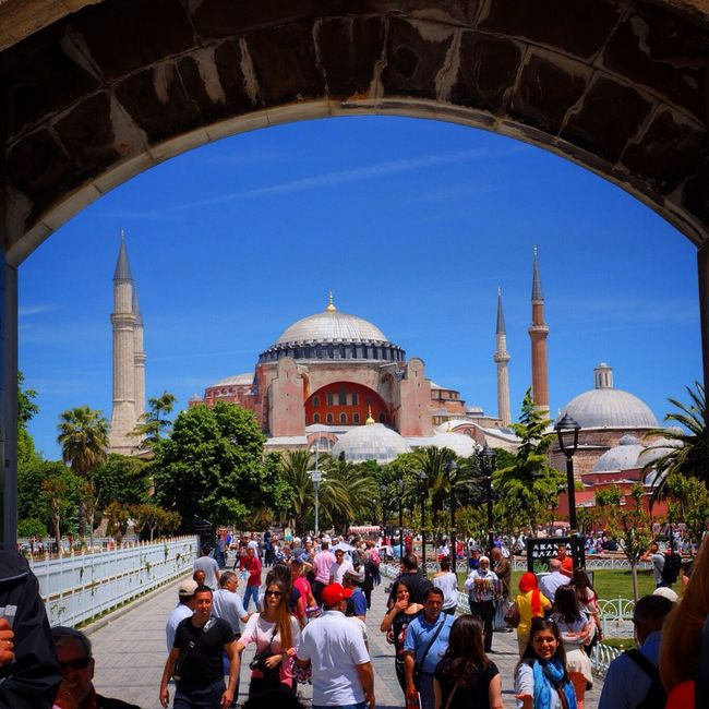 People And Places Architecture Travel Destinations Tourism Built Structure Famous Place Large Group Of People Building Exterior Tourist Leisure Activity Person Arch Lifestyles Travel History Dome Monument International Landmark The Past Tree Vacations Turkey Mosque Santa Sofia