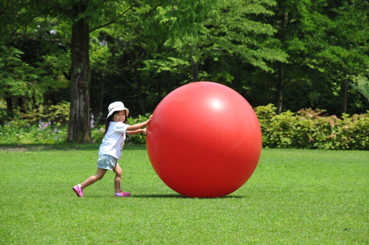 Daughter One Person Children Only Childhood Grass Tree Day Outdoors Ball Balloon