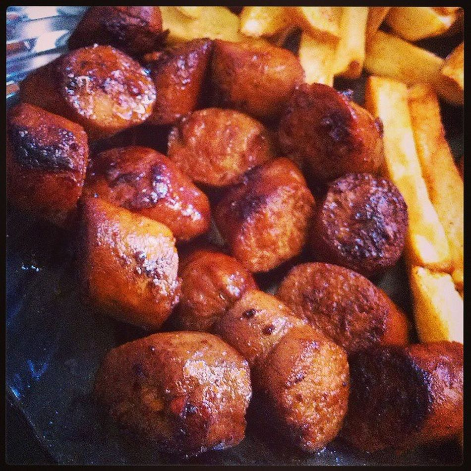 Oily. Sausages Smokedchicken Fries Potato yummy instafood instayum home