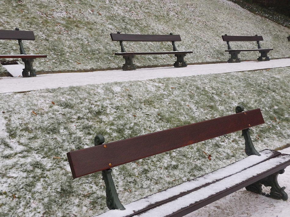 Sittin' in the Park. Bench Day High Angle View Outdoors Wood Material Snow Scenics Tranquility Cold Temperature