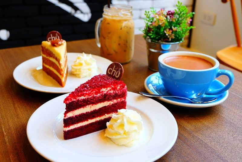 Sweet Food Drink Baked Pastry Item Food Slice Of Cake No People Indoors  Hot Chocolate Pastries Pastries And Goodies EyeEmNewHere Thailand Bangkok Red Velvet Caramel Cake