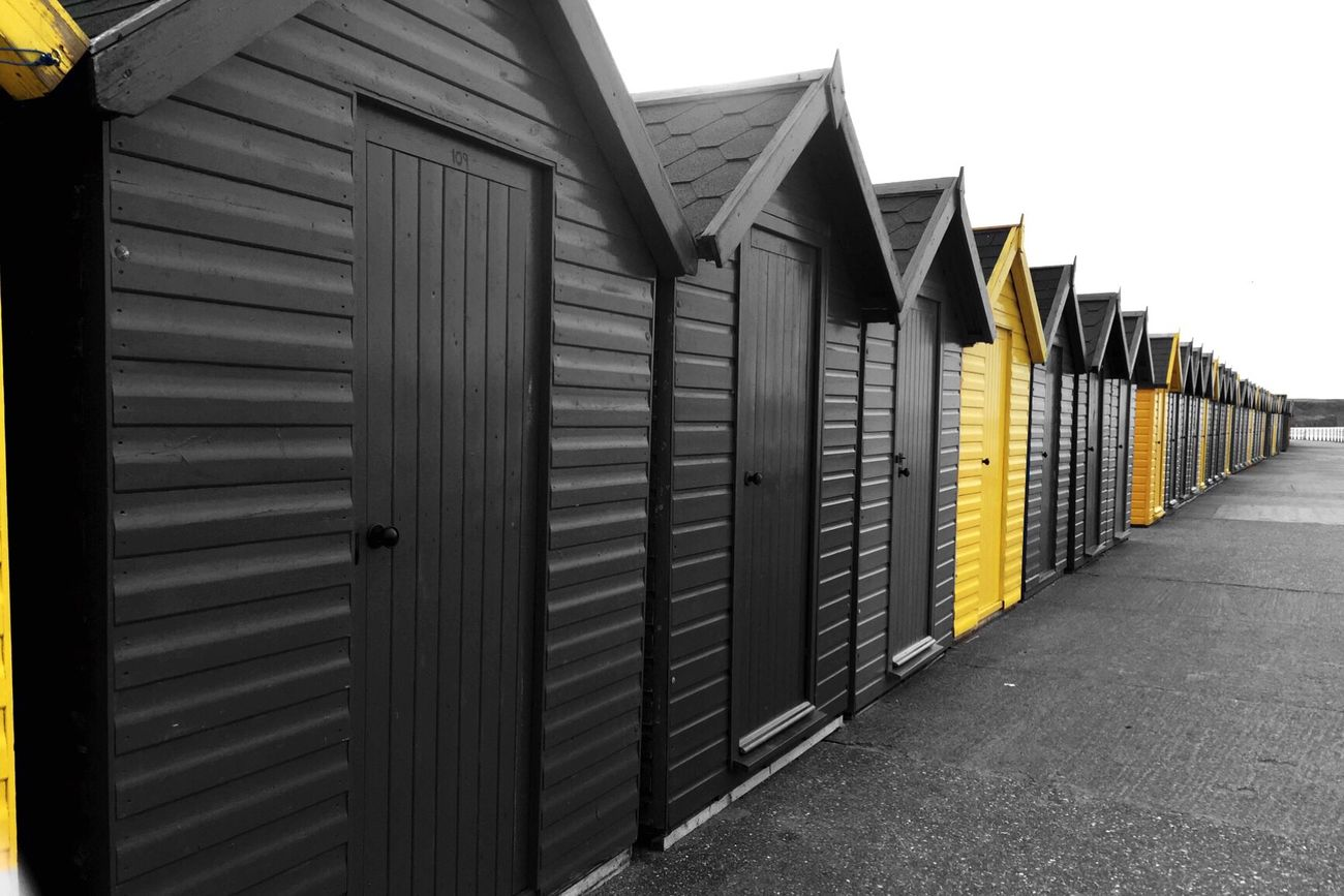 Whitby From Where I Stand Yellow Blackandwhite Color Splash Beach Huts Beach Photography Coloursplash