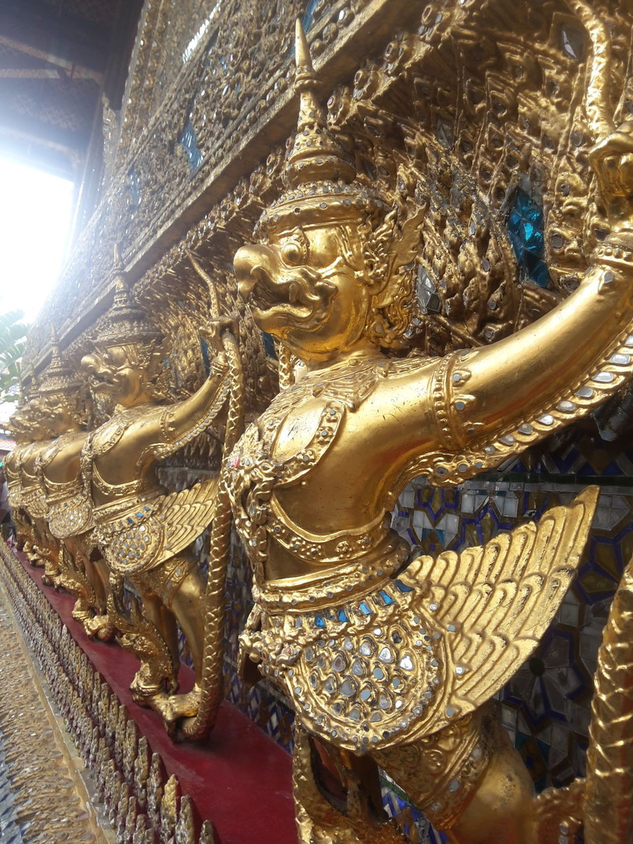 Grand Palace Bangkok Thailand Songkran Festival Statue Sculpture Religion Gold Colored No People Spirituality Indoors  Low Angle View Close-up Day Gold Sky