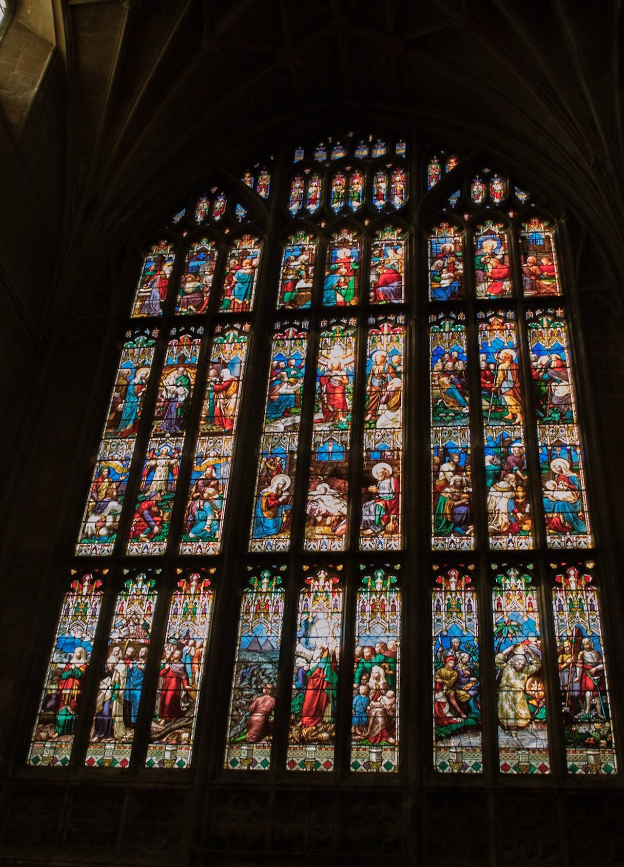 Stained Glass Multi Colored Indoors  Low Angle View Place Of Worship Travel Travel Destinations Religion Window Spirituality No People Day Rose Window Stained Glass Window Catherdral Architecture Gloucester Gloucester Cathedral