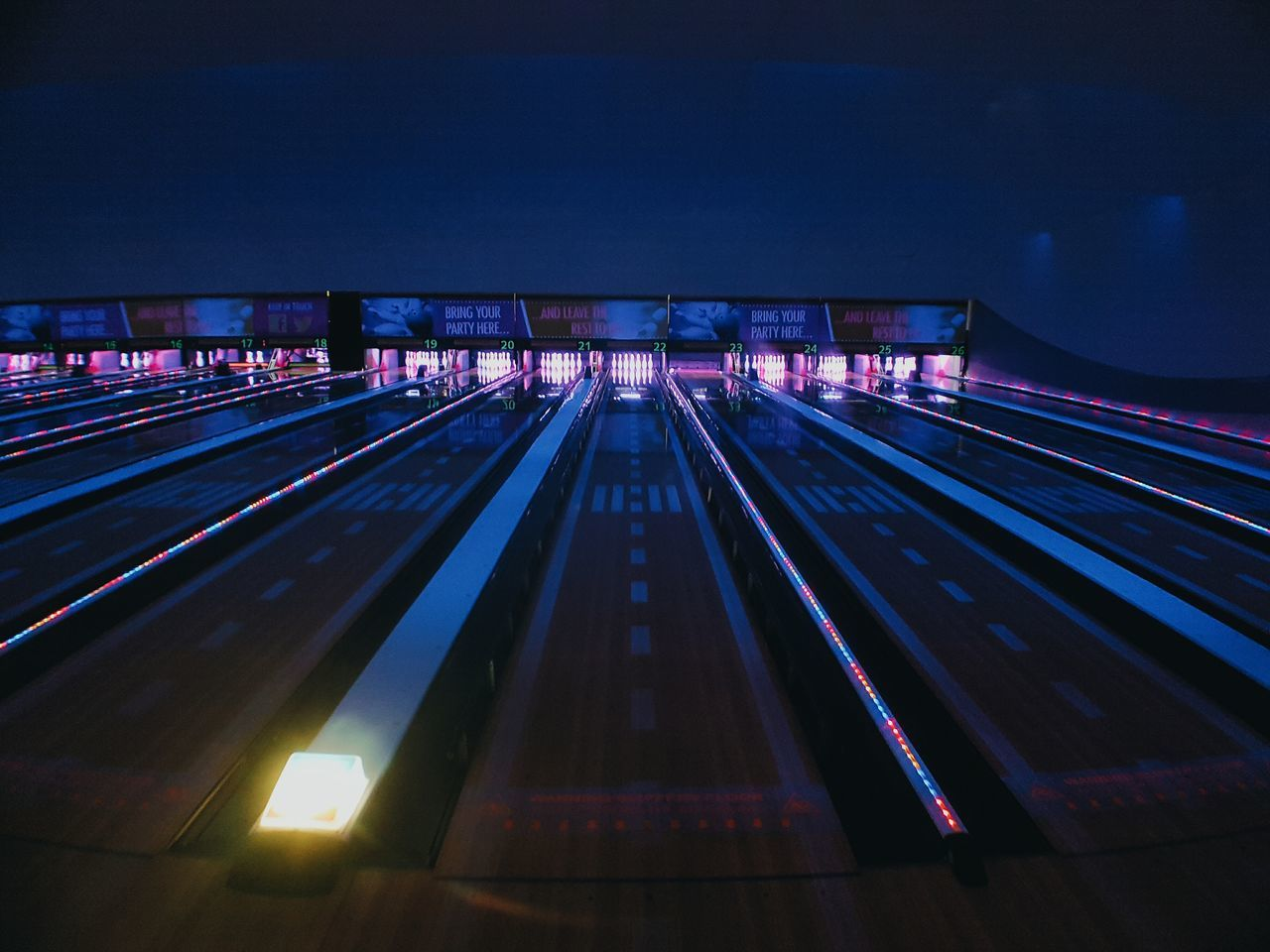 Illuminated Night Transportation Architecture Built Structure No People Outdoors Sky Bowling Bowling Alley