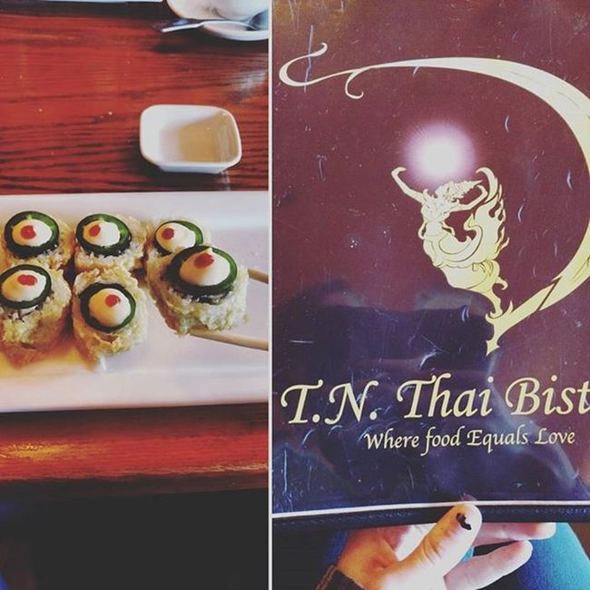 Explored Grosse Pointe a bunch went to a very yummy lunch at a Thai bistro and had a very good sushi roll. Yummy Lunch Sushi Grossepointe Thaifood Thaibistro Thairestaurant Food Goodfood Happygirl Yay