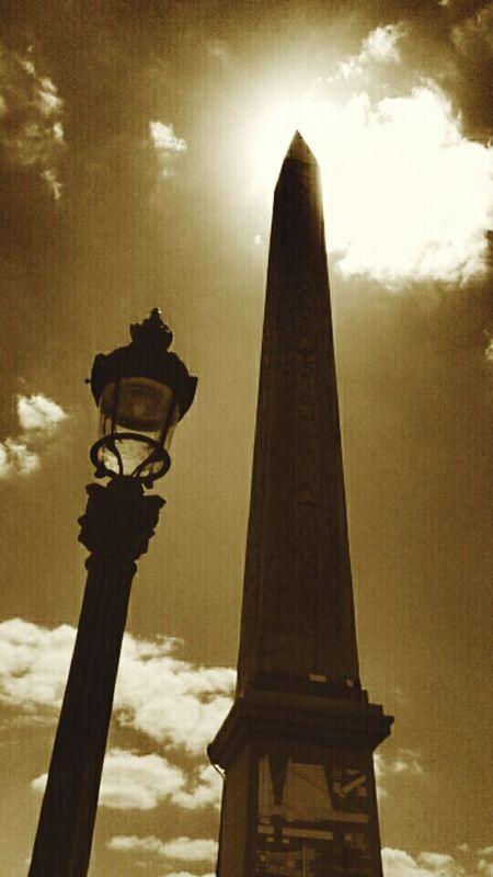 Low Angle View Sky Cloud - Sky Tourism Architectural Column Famous Place Paris Je T Aime París In Sepia