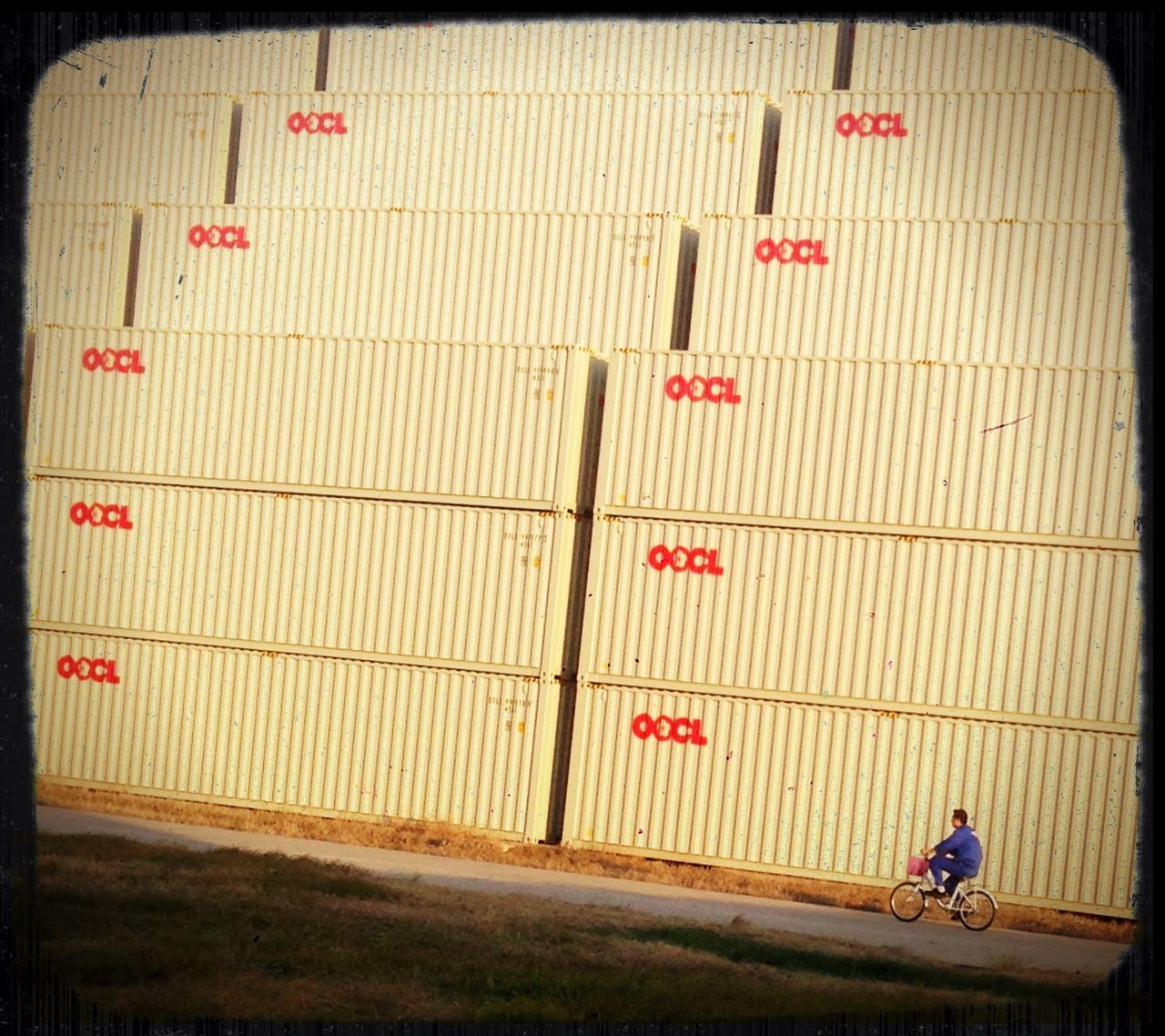 A man rides his bike in front of a mountain of shipping containers stacked near the Shanghai Port at Taicang.