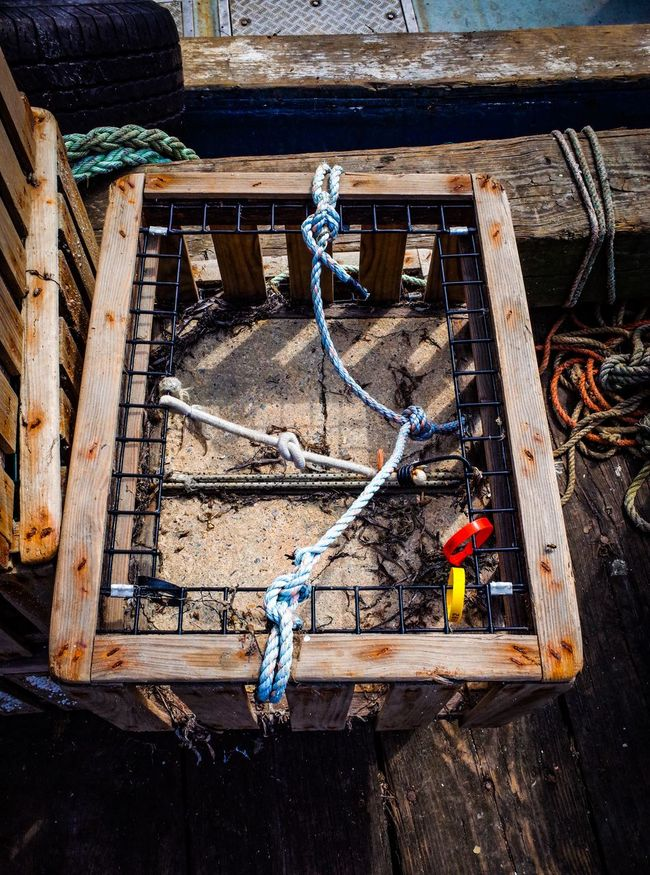 Tools of Fishermen. Cage Cape Cod Crab Basket Day Documentary Fishing Fishing Boat Fishing Tools Rope Weaathered Wooden