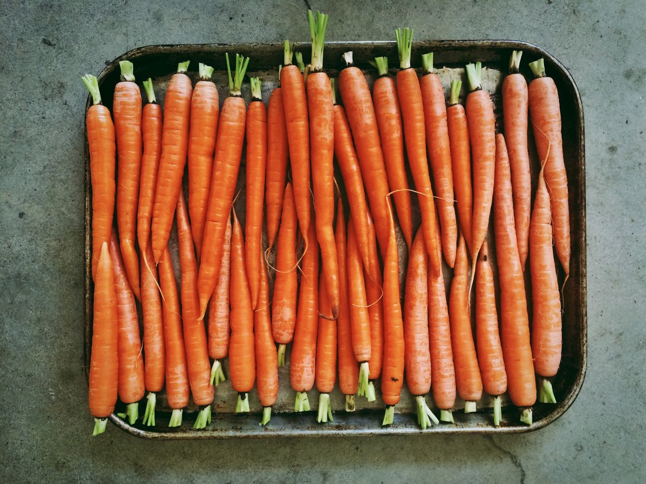 High Angle View Of Fresh Carrots In A Tray