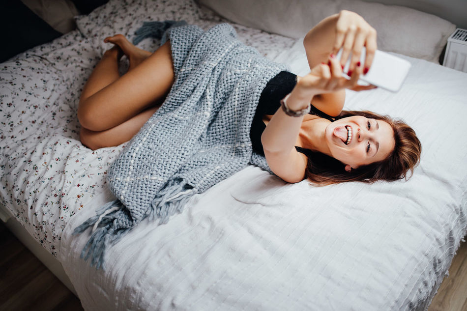 Bed Bedroom Camera Cosy Fun Happy Selfie Smart Phone Social Media Taking Photos Woman