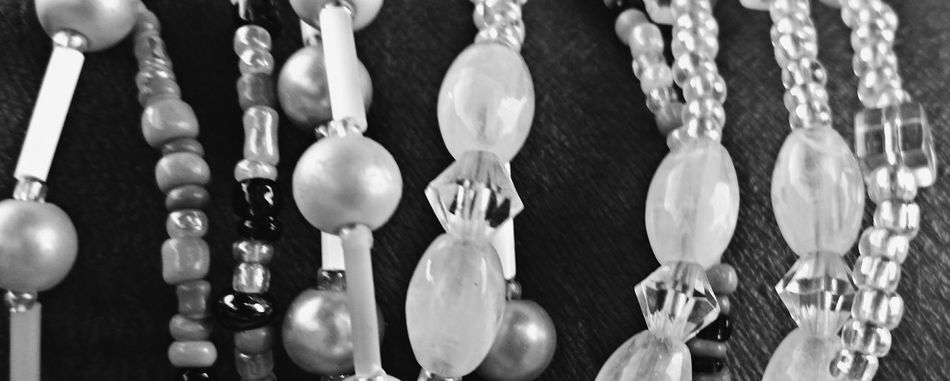 Beads Crystal Jewelry Close-up Black And White