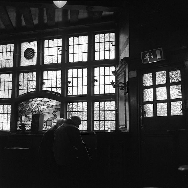 Beer O'clock boys time @ London Pub taken w/ Film Camera + Ilforddelta400 6x6 Medium Format Tlr Rolleiflex