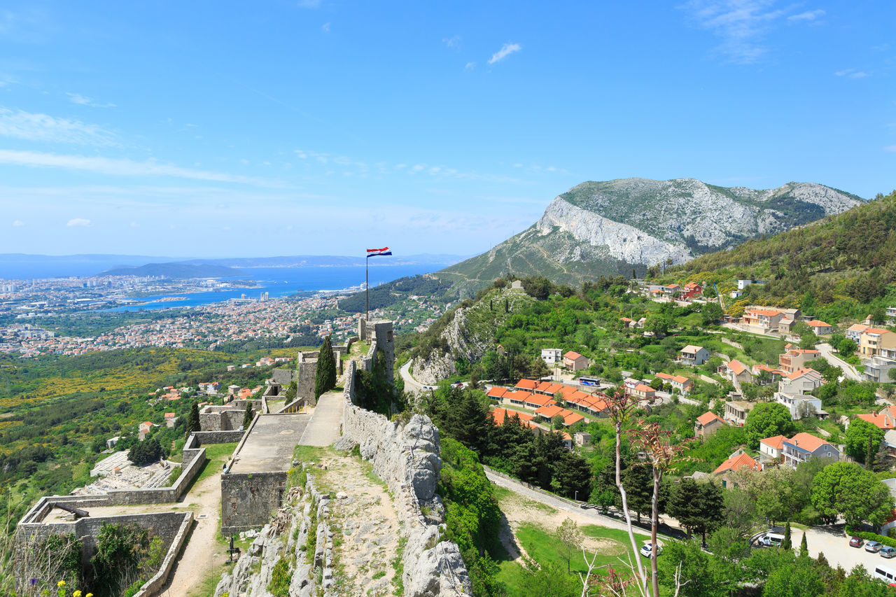 Klis Fortress in town Klis near Split, Croatia - a popular tourist attraction, especially for Game of Thrones fans, as it's one of TV series filming locations Ancient Croatia Game Of Thrones Klis Fortress Panorama Panoramic Split Adriatic Sea Filming Location Fortress Game Of Thrones Location History Klis Medieval Medieval Architecture