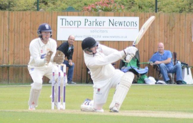 Slog sweep. batsman James Dobson Cricket!