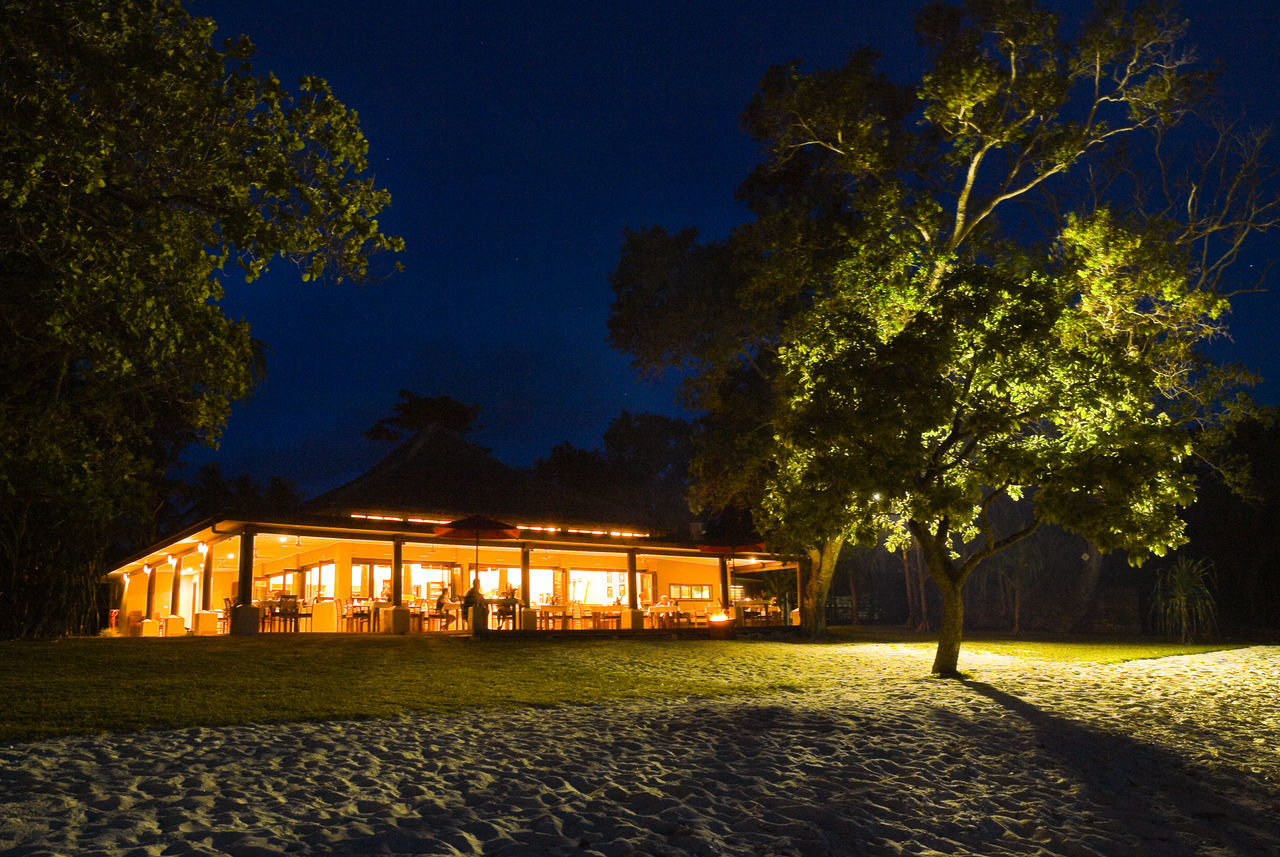 Eratap Resort Port Vila Vanuatu Beach Clear Sky Dinner Dinner For Two Field Green Color Growth Illuminated Lawn Moonlight Nature Night Outdoors Pacific Ocean Palm Tree Park - Man Made Space Remote Romatic Scenics Solitude Tranquil Scene Tranquility Travel Destinations Traveling Tree