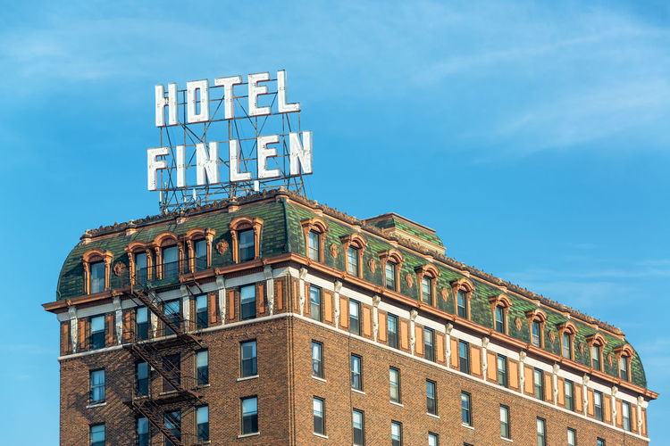 BUTTE, MT - AUGUST 21: Closeup view of historic Hotel Finlen in Butte, MT on August 21, 2015 Architecture Brick Butte, Montana Butte, MT Center Clear Sky Day District Downtown Finlen Historic Historical Building Hotel Main Street Main Street USA Montana No People Outdoors Sky Travel USA
