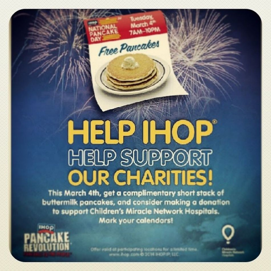 Anyone going to this? I might go after my class next Tuesday. Nationalpancakeday Freepancakes Ihop Breakfast