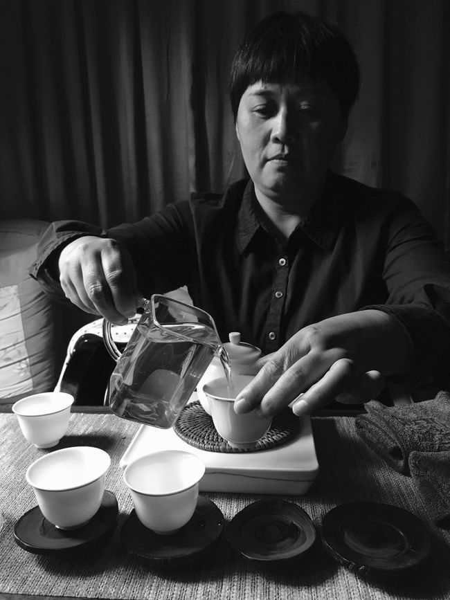 China Tea Time Tea Ceremony Black Blackandwhite Black And White Tea Food And Drink Indoors  Drink Vertical Sitting Table One Person Food Men One Man Only Only Men Person Adult Day People Zen